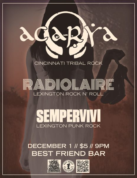 Flyer design for Cincinnati band Acarya concert in Lexington, KY