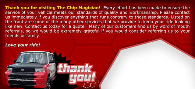 Chip Magician Printed Rack Card (back)