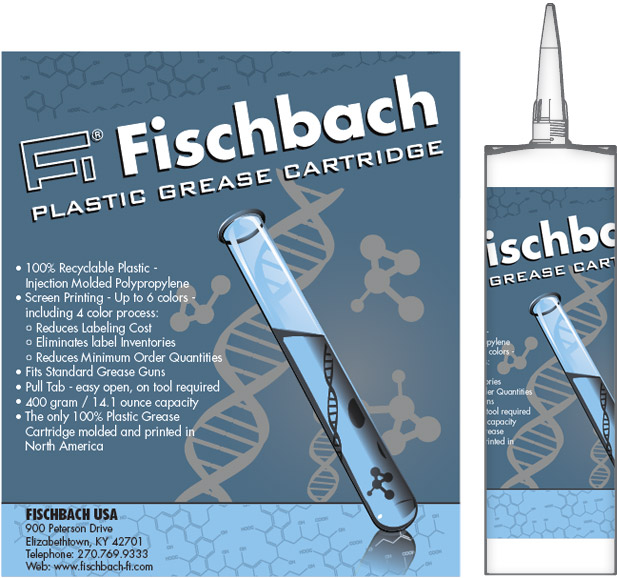 "Fischbach USA ""Test Tube"" Grease Cartridge Packaging Graphic Design"