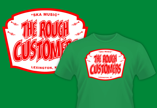 Band shirt graphic design for The Rough Customers