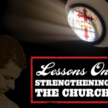 """Lessons on Strengthening the Church"" book cover design"