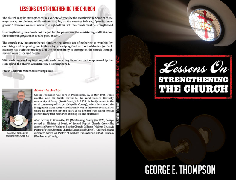 """Lessons on Strengthening the Church"" book cover graphic design"