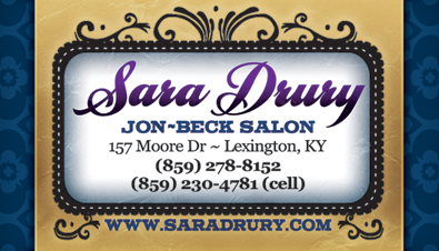 Beauty salon Business Card design for Kentucky hair stylist Sara Drury