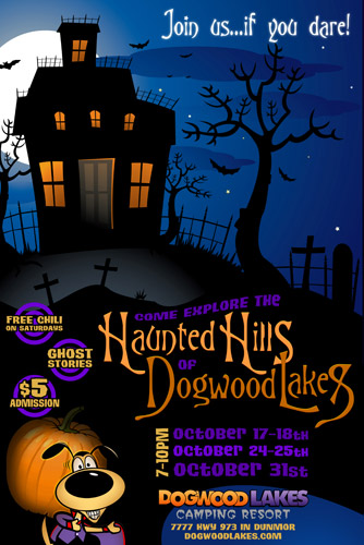 "Dogwood Lakes ""Haunted Hills"" Halloween poster design"