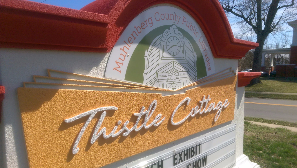Thistle Cottage logo as seen from the roadside in Greenville, KY.