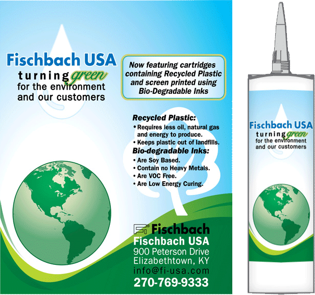 "Packaging design for Fischbach USA ""Green"" Sealant Caulk Cartridge"