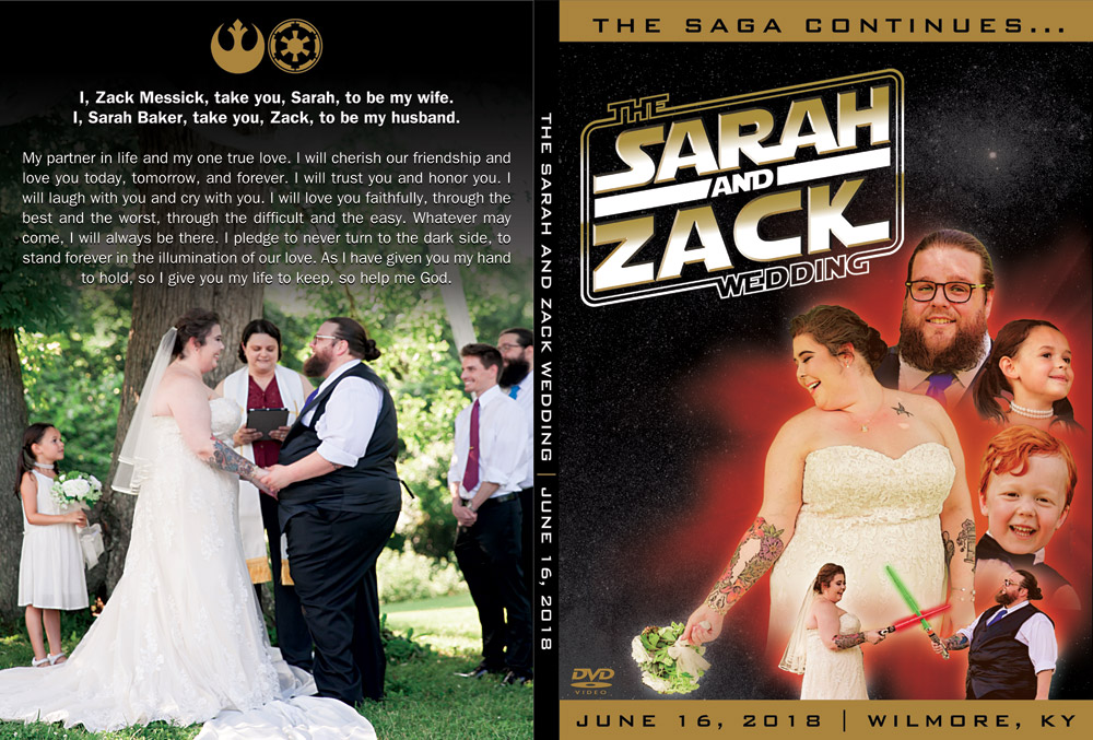 Star Wars themed wedding DVD art