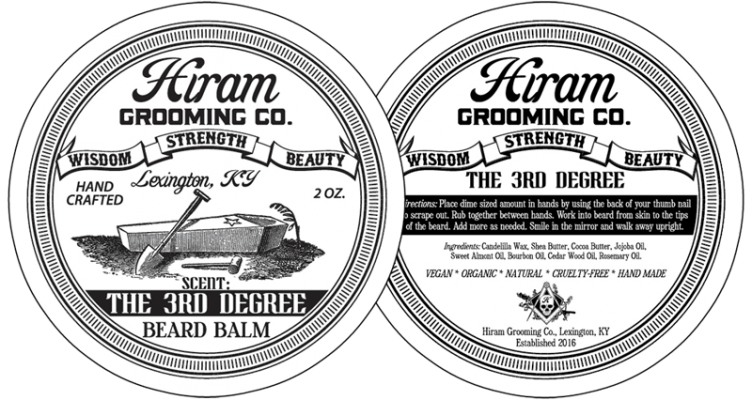 Hiram Grooming Company 3rd Degree Beard Balm Can Label Design Detail