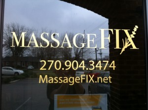 MassageFIX Logo, as seen on the business' front door at the Avery Center in Bowling Green, KY.