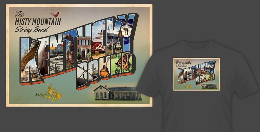 Kentucky shirt design detail for Louisville Bluegrass band