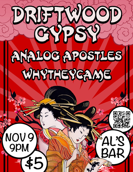 Concert poster graphic design for Driftwood Gypsy of Lexington, KY - ancient Japanese theme