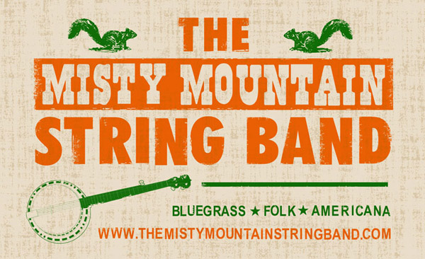 banner design - Misty Mountain String Band 3x5'
