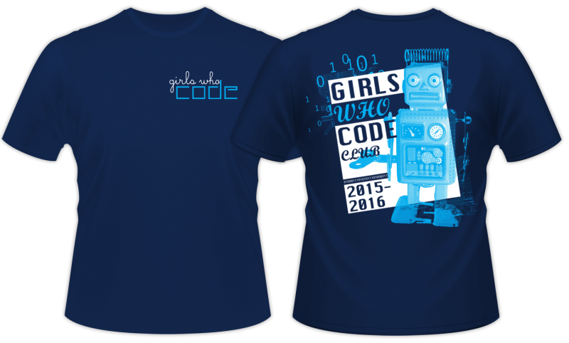 """Girls Who Code"" retro shirt design front and back"