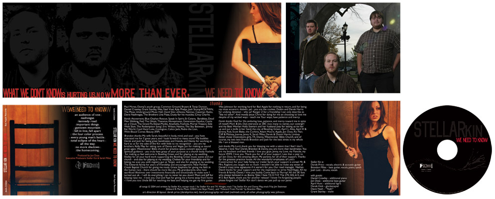 "CD Graphic Design for Stellar Kin ""We Need to Know"" - Kentucky rock band"