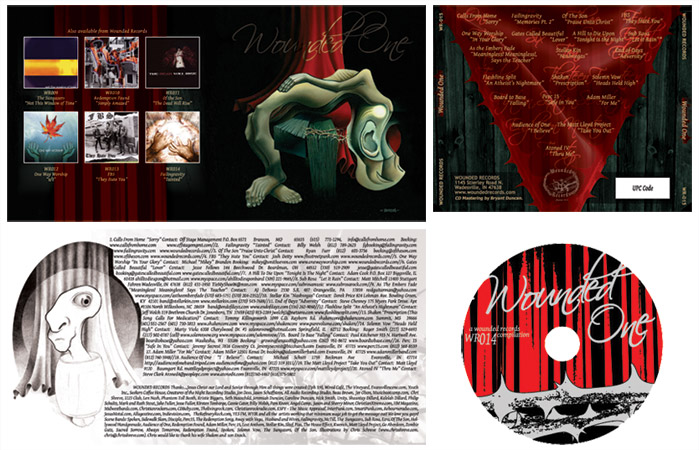"Wounded Records ""Wounded One"" Compilation CD graphic design"