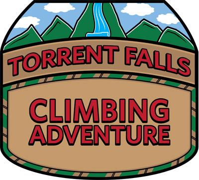Rock climbing logo design for Torrent Falls Climbing Adventure