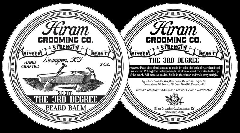 Hiram Grooming Company 3rd Degree Beard Balm Can Label Design Detail
