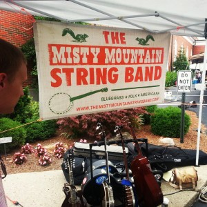 Misty Mountain String Band's banner design on display at a show.