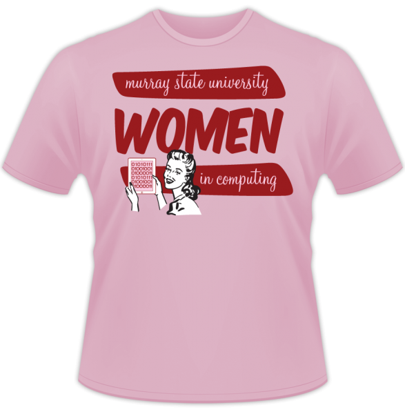 "Murray State University ""Women in Computing"" kitsch shirt design"