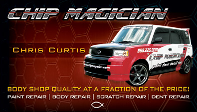 Body shop business card design for Chip Magician in Lexington, KY
