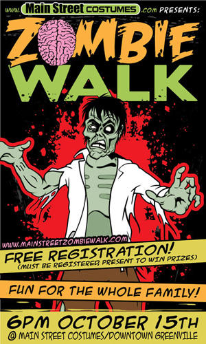 Zombie poster design for Kentucky costume shop event