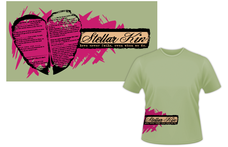 "Band merch design - Stellar Kin ""heart"" shirt"