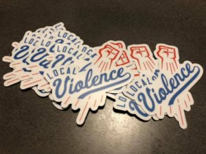 Local Violence band sticker design - finished product