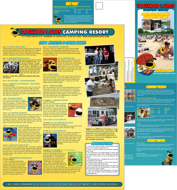 Print Brochure Design for Dogwood Lakes Camping Resort in Kentucky