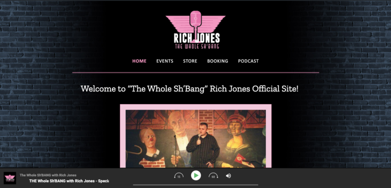 Comedian website design for stand-up comic Rich Jones