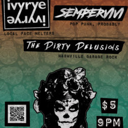 Dirty Delusions concert flyer design for Nashville band