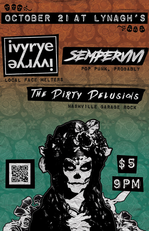 Concert flyer designer for Nashville band The Dirty Delusions