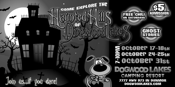 "Newspaper Ad Design - ""Haunted Hills"" Halloween Event at Dogwood Lakes Camping Resort in Kentucky"