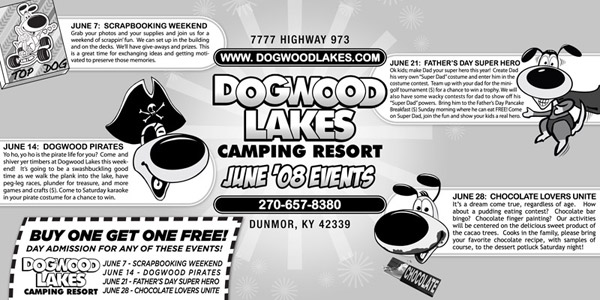 Dogwood Lakes Newspaper Ad Design - chocolate, pirates, Father's Day, scrapbooking in Kentucky