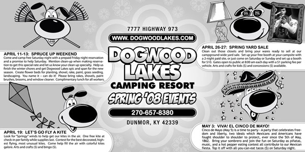 Newspaper Ad Design for Spring Events at Dogwood Lakes Camping Resort in Kentucky