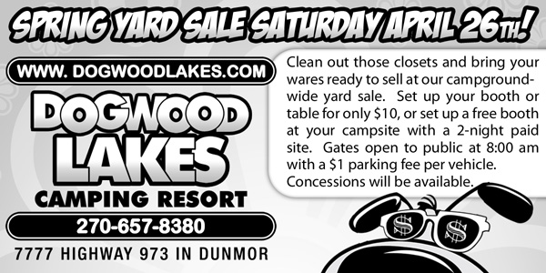 Newspaper Ad Design for Yard sale event at Dogwood Lakes Camping Resort in Kentucky